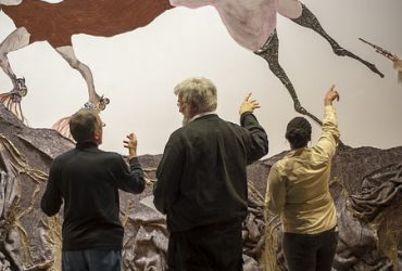 Visitors enjoy Wangechi Mutu's wall drawing. Photo by J Caldwell.