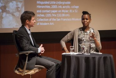 Chief Curator Trevor Schoonmaker (left) interviews artist Wangechi Mutu about her work. Photo by J Caldwell.
