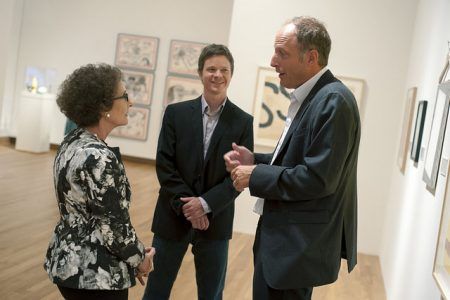 Nancy A. Nasher, chair of the Nasher Museum's Board of Advisors, pauses to chat in the gallery with Chief Curator Trevor Schoonmaker (middle) and Jason Rubell, also a member of the Board of Advisors. Photo by J Caldwell.