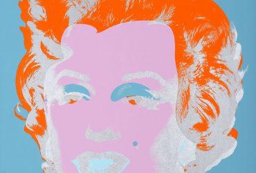 Screenprint of Marilyn Monroe in pink, silver, blue and orange.