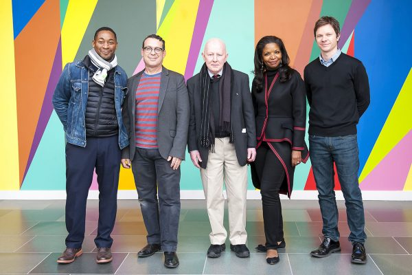 From left: Franklin Sirmans, director, Pérez Art Museum Miami; Jack Shainman, New York gallery director; Holland Cotter, art critic, The New York Times; Pamela Joyner, San Francisco art collector; Trevor Schoonmaker, Chief Curator and Patsy R. and Raymond D. Nasher Curator of Contemporary Art, Nasher Museum. Photo by J Caldwell.