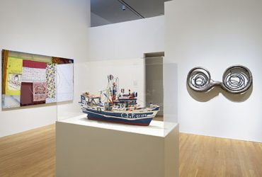 "Gallery installation view, with James ""JP"" Scott's Shrimp Boat in the center foreground, a sculpture by Terry Adkins, Omohundro on the right and a work by Tameka Norris, 12 Times Table on the left. Photo by Peter Paul Geoffrion."