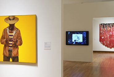 Gallery installation view, with Down Home Taste by Barkley L. Hendricks on the left. Photo by Peter Paul Geoffrion.