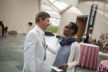 Chief Curator Trevor Schoonmaker chats with artist Sonya Clark at the exhibition opening. Photo by J Caldwell.
