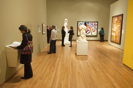 Visitors stroll the galleries in The Vorticists. Photo by J Caldwell.