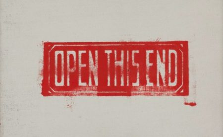 "This Andy Warhol print consists of the words ""OPEN THIS END"" in all capital letters, white dropped out of a red stamp."