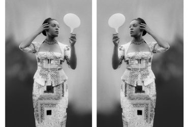 In this diptych, Carrie Mae Weems presents identical, but flipped, images of herself gazing into a mirror, her hand held up to stroke her hair. Weems' position as both artist and subject connects directly to the process of identity formation, which involves not just looking at and projecting oneself, but also the experience of being looked at by others. In this way, the artist highlights the differences and effects of self-representation and imposed representations. The mirror images of the photograph are further extensions of the mirror the artist holds in her hand. Her dress made from quilts offers another instance of inversion, as quilts are often made from repurposed dresses. It also serves as a symbol of the accumulation of history, with cultures and heritages becoming layered, patched, and intertwined, informing our understanding of who we are and where we come from.