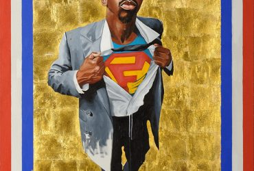 Full portrait of male figure opening shirt to reveal Superman T-shirt, with a gold leaf background.