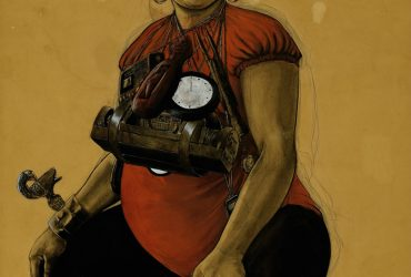 In this work, a pregnant woman sits on a boombox, her body adorned with timekeepers and talismans, as if ready and waiting to embark on a journey. The devices around her neck—including a circular clock and an African drum—relate to time, alluding to Pruitt's fascination with time travel and a people's ability to journey to a better place. On her right arm is an Akan Sankofa bird from Ghana, which symbolizes the need to look to the past to borrow what can help you make progress in the present and future.