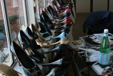 Shoes line the windowsill of Barkley L. Hendricks's studio at Golden Belt in October 2009. Photo by Courtney Reid-Eaton.
