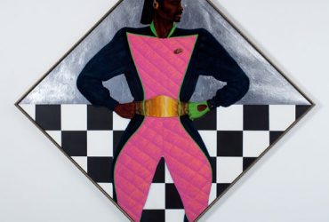 Barkley Hendricks, Back in the World: The Last Almond Joy, 1982. Oil, acrylic and aluminum leaf on linen canvas 69 x 69 inches. Jack Shainman Gallery. Photo by Derek Wilson.