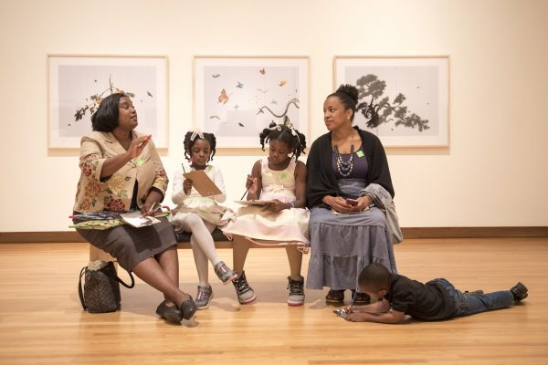 Visitors enjoy conversation and gallery activities within All Matterings of Mind during a Family Day event. Photo by J Caldwell.