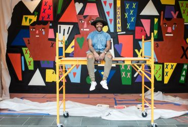 Artist Nina Chanel Abney finishes her site-specific mural at the museum