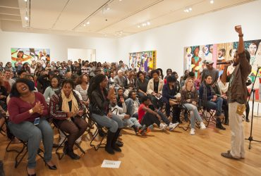 At the opening event for Nina Chanel Abney: Royal Flush, Pierce Freelon was the M.C. for the evening, featuring Duke student saxophonist Edgeri Hudlin, youth poets from Blackspace and the Nasher Teen Council and Duke student Ashley Croker-Benn, spoken word artist. Photo by J Caldwell.