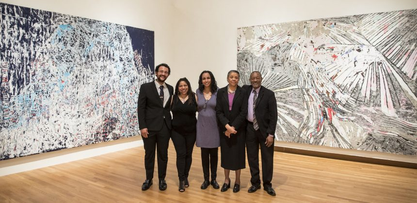 Members of the Carolina African American Writers' Collective include (from left) Gideon Young, Sheila Smith McKoy, Ph.D., Crystal Simone Smith, L. Teresa Church, Ph.D., and Lenard D. Moore. Photo by J Caldwell.