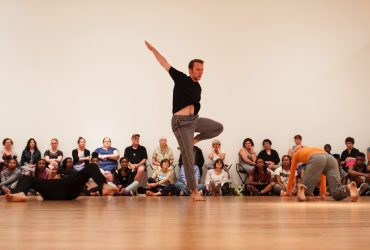 Before the performances of ReComposed at Durham Performing Arts Center, Doug Varone and his dancers hold a series of open company rehearsals at the Nasher Museum in an empty gallery. Photo by J Caldwell.