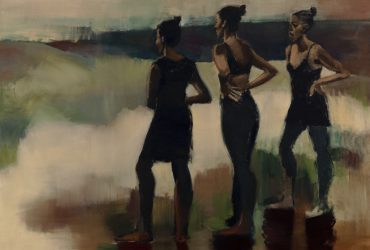 Lynette Yiadom-Boakye, Blood Soaked South, 2015. Oil on linen, 98 7/16 x 78 3/4 inches (250 x 200 cm). Collection of Patricia and Thruston Morton, L.5.2016.1. © Lynette Yiadom-Boakye. Courtesy of the artist and Jack Shainman Gallery, New York and Corvi-Mora, London.