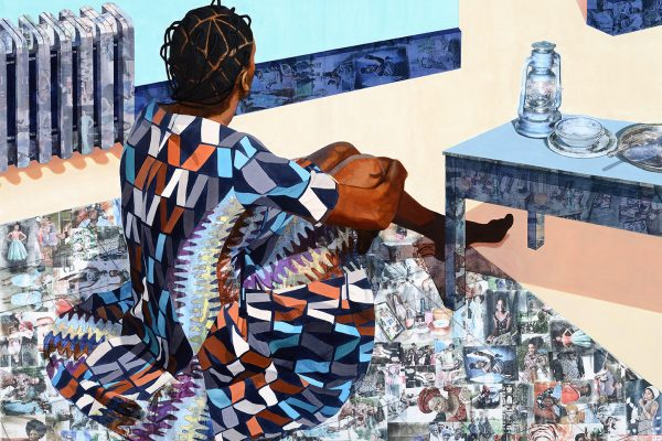 "Njideka Akunyili Crosby, ""The Beautyful Ones Are Not Yet Born"" Might Not Hold True For Much Longer, 2013. Acrylic and transfers on paper, 64 × 82 7/8 inches (162.6 × 210.5 cm). Collection of the Nasher Museum. Gift of Marjorie and Michael Levine (T'84, P'16, P'19, P'19). © Njideka Akunyili Crosby. Photo by Peter Paul Geoffrion."