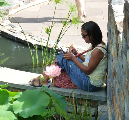 A Durham teacher during a Nasher Teacher Workshop enjoys drawing by the pond at Duke Gardens.