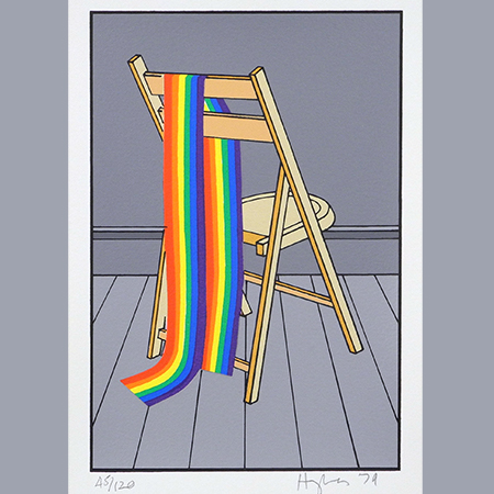 Patrick Hughes, Rainbow Draped Over Chair from the portfolio The Domestic Life of the Rainbow, 1979. Screenprint on paper, edition 45/120, 7 x 4 3/4 inches (17.8 x 12.1 cm). Collection of the Nasher Museum of Art at Duke University. Gift of Mr. Jerome Singer, 1980.107.1.1. © Patrick Hughes