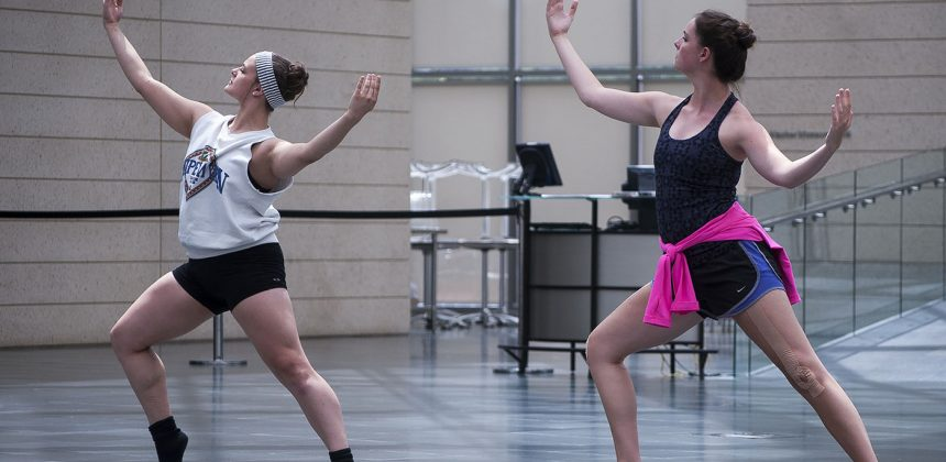 ADF students dance in the Great Hall for a class. Photo by J Caldwell.