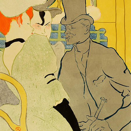 Henri Toulouse-Lautrec, French, L'Anglais au Moulin-Rouge (The Englishman at the Moulin Rouge) (detail), 1892. Lithograph on paper, 18 9/16 x 14 5/8 inches (47.1 x 37.1 cm). Collection of the Nasher Museum of Art at Duke University, Durham, NC. Bequest of Nancy Hanks, 1983.10.12. Photo by Peter Paul Geoffrion.