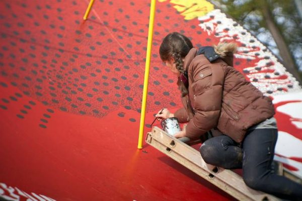 Rachel Goodwin turns a satellite dish into a work of art