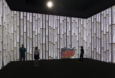 Christian Marclay, Surround Sounds, 2014–2015. Digital animation video installation (color, silent), 13:40 minutes. Still courtesy of the artist and Paula Cooper Gallery, New York