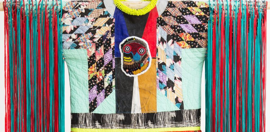 Jeffrey Gibson, Radiant Tushka (detail), 2018. Repurposed quilt, assorted glass, plastic and stone beads, printed chiffon, nylon ribbon, canvas, acrylic paint, nylon fringe, copper, and artificial sinew, 95 ½ x 64 x 2 ½ inches (242.57 x 162.56 x 6.35 cm). Courtesy of the artist and Kavi Gupta, Chicago. Photography by Peter Mauney.