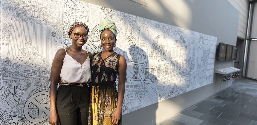 "Durham artists Joan Yabani, an immigrant from Ghana, and Winnie Okwakol, an immigrant from Uganda, designed a jumbo coloring book mural that incorporates images relating to FDR's ""Four Freedoms"" address."