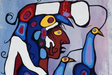 Norval Morrisseau, The Story Teller: The Artist and his Grandfather (detail), 1978. Acrylic on canvas, 69.5 x 38 inches (177 x 83.8 cm) each. Collection of Crown-Indigenous and Northern Affairs Canada, Indigenous Art Centre, Gatineau, Quebec, 151779. © Estate of Norval Morrisseau. Image courtesy of Lawrence Cook.