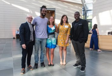 Curator Marshall Price, artist Stephen Hayes, gallery guide Kate Newman, Hillary Hood, Mike Williams