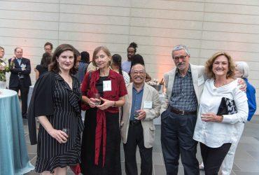 N. C. Museum of Art director Valerie Hillings, Olga Grilic, Stanley Abe, Neil McWilliam, Duke Professor Kristine Stiles