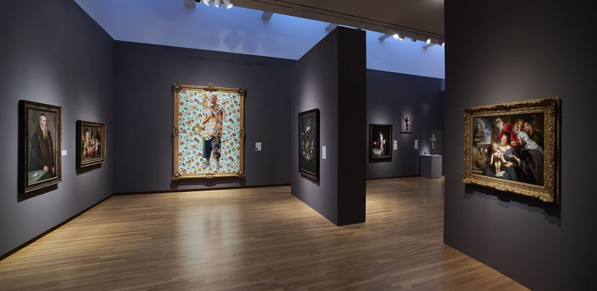 Installation view of the European Art Gallery. Center: Kehinde Wiley, St. John the Baptist II, 2006. Oil on canvas, 96 x 72 inches (243.8 x 182.9 cm). Gift of Blake Byrne (T'57). Photo by Peter Paul Geoffrion.