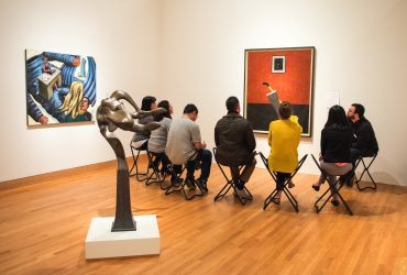 Dermatology residents and physicians visit the Nasher Museum. Photo by J Caldwell.