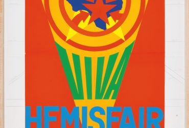 Robert Indiana, Study for Viva HemisFair poster, 1967. Collage and graphite on board, 60 x 40 inches (152.4 x 101.6 cm). Collection of the Tobin Theatre Arts Fund, San Antonio, Texas; 84.2007. Courtesy of the McNay Art Museum, San Antonio, Texas.© 2018 Morgan Art Foundation Ltd. Licensed by Artists Rights Society (ARS), New York, New York .