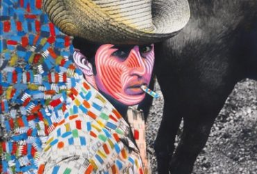 Raúl Martínez, El vaquero (Cowboy), c. 1969. Acrylic on black-and-white photograph, 21.5 x 16.75 inches (54.61 x 42.54 cm). The Shelley and Donald Rubin Private Collection. Image courtesy of the Raúl Martínez Estate, Ciego de Ávila, Cuba, and Corina Matamoros.