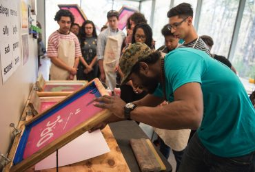 Our good friends from DRC ApeParel showed the Nasher Teens how to screenprint.