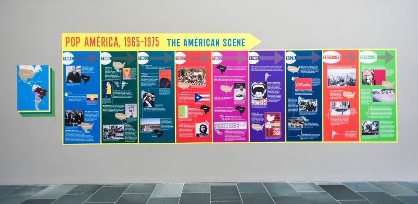 The Nasher Museum presents a timeline to complement the exhibition Pop América, 1965-1975, across a 6-by-20-foot wall in the Great Hall. Photo by J Caldwell.