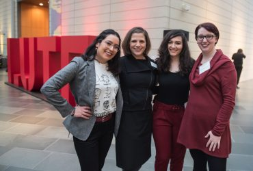 Party goers strike a pose (from left) Nadia Pacheco, Jessica Ruhle, Maddy Kameny and Mary Catherine Hall. Photo by J Caldwell.