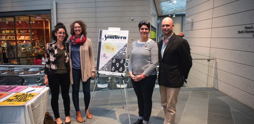 Staff of Southern Cultures journal (left to right) Emma Calabrese, Emily Wallace and Ayse Erginer, pose at the event with guest editor Brendan Greaves.