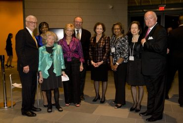 Blake Byrne (center) enjoys a benefit gala with (from left) Dr. Lawrence J. Wheeler, former director of the N.C. Museum of Art; friend; Mary D.B.T. Semans; former N.C. Lieutenant Governor Beverly Perdue; Nancy A. Nasher, now chair of the museum's Board of Advisors; Angela O. Terry; Kimerly Rorschach, former director of the Nasher Museum; and Robert A. Ingram, former CEO of Glaxo SmithKline. The event celebrated the Nasher Museum's 5th anniversary and honored Wheeler with the inaugural Mary D.B.T. Semans Award for Distinguished Service to the Arts. Photo by J Caldwell.