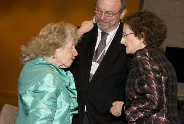 Blake Byrne exchanges a warm greeting with Mary D.B.T. Semans and Nancy A. Nasher. Photo by J Caldwell.