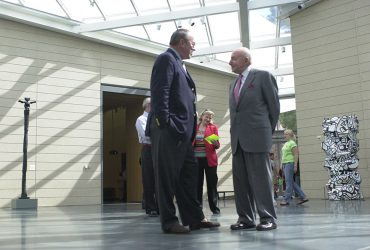 Blake Byrne enjoys a moment with museum benefactor and namesake Raymond D. Nasher during the opening of the museum in October 2005. Photo by Duke Photography.
