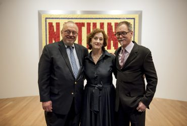 Blake Byrne celebrates the opening of Open This End with guest curator Joseph R. Wolin and Barbara Schwan of Skylark Foundation. Photo by J Caldwell.