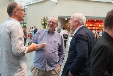 Blake Byrne chats with Board of Advisor members Jason Rubell (left) and David Haemisseger at the Nasher Museum. Photo by J Caldwell.