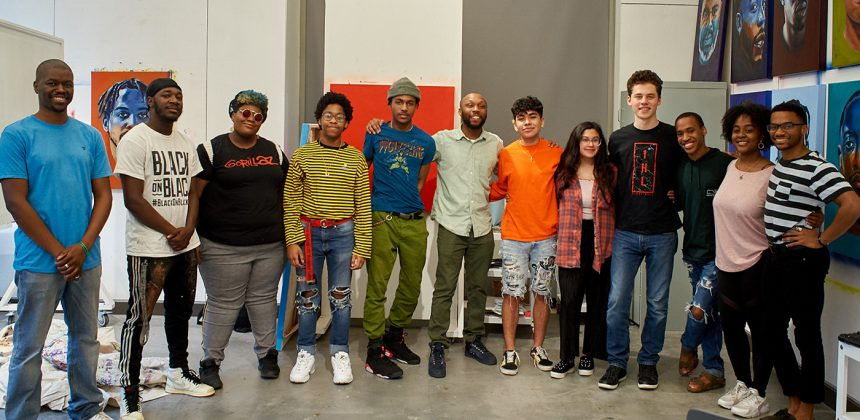 Nasher Teen Council with artist Will Paul Thomas in his studio at the Rubenstein Arts Center. Photo by Robert Zimmerman.