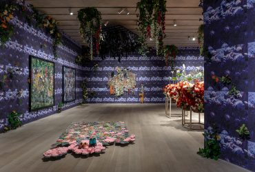 Installation view of Ebony G. Patterson . . . while the dew is still on the roses . . ., courtesy of the Pérez Art Museum Miami.