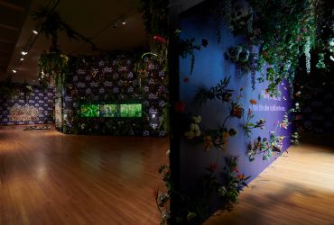 Installation view of Ebony G. Patterson . . . while the dew is still on the roses . . . , Nasher Museum of Art at Duke University. © Ebony G. Patterson. All work courtesy of the artist and Monique Meloche Gallery, Chicago. Photo by Peter Paul Geoffrion.