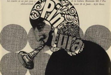 Edgardo Giménez, Luis Felipe Noe Conferencia–La creacion en un pais joven y subderarrollado, 1965. Lithograph on paper, 20 1/4 × 15 1/2 inches (51.4 × 39.4 cm). Collection of the Nasher Museum of Art at Duke University. Gift of the Institute for Studies on Latin American Art (ISLAA), 2019.10.1. © Edgardo Giménez. Photo by Peter Paul Geoffrion.